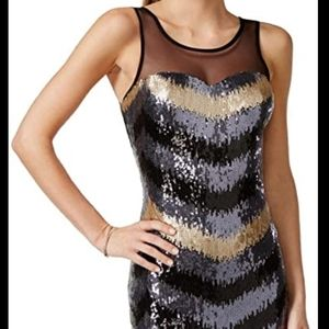 As U Wish M Dress Black Gold Sequin